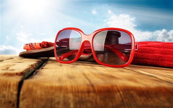 Papéis de Parede Óculos de sol, madeira, verão