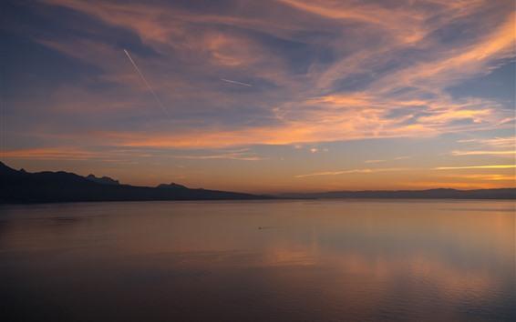 Papéis de Parede Suíça, pôr do sol, rio