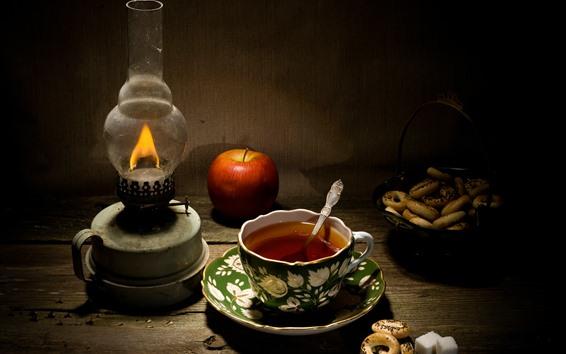 Обои Чай, яблоко, печенье, лампа, натюрморт