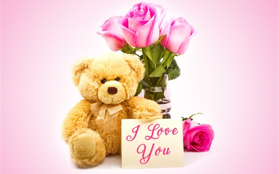 Wallpaper Teddy, pink roses, I love you