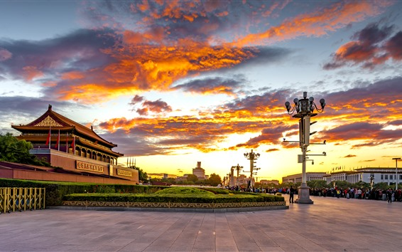 Wallpaper Tiananmen Square, sunset, red sky, clouds, Beijing, China