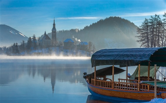 Wallpaper Town, lake, boat, houses, mountains, fog, morning