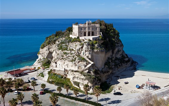 Wallpaper Tropea, palace, mountain, sea, palm trees