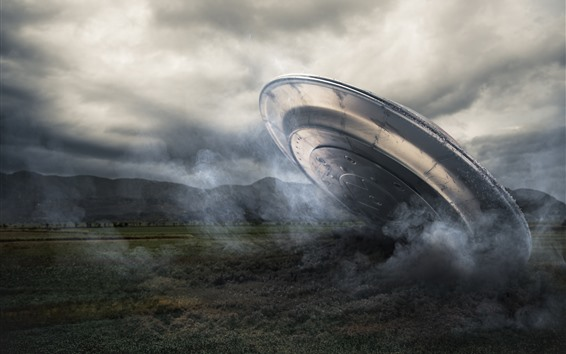 Wallpaper UFO, ground, smoke, creative picture