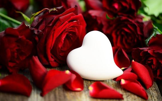 Wallpaper White love heart, red rose, petals