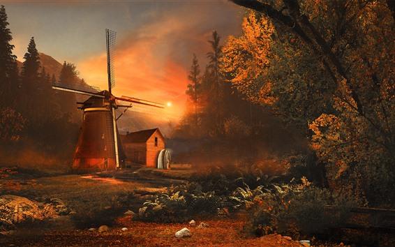 Обои Ветряная мельница, деревья, солнце, осень, утро, туман