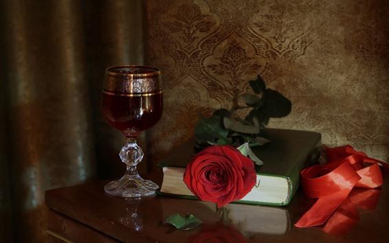 Papéis de Parede Vinho, rosa vermelha, livro, ainda vida