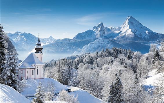 Wallpaper Winter, snow, trees, snowflakes, church, mountains