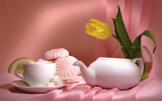 Papéis de Parede Tulipa amarela, bule de chá, chá, bolos