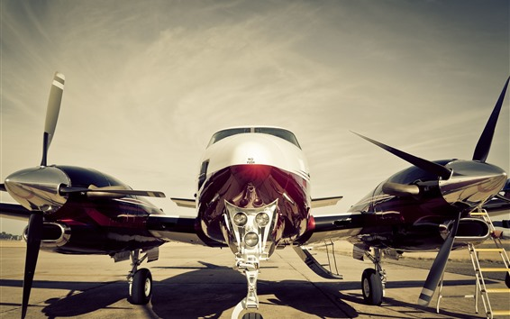 Wallpaper Airplane front view, propeller