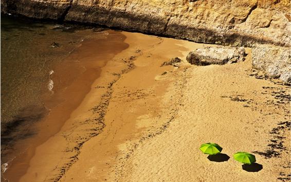 Wallpaper Beach, sea, top view, umbrella