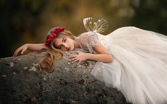 壁纸 美丽的年轻女孩,翅膀,白色的裙子