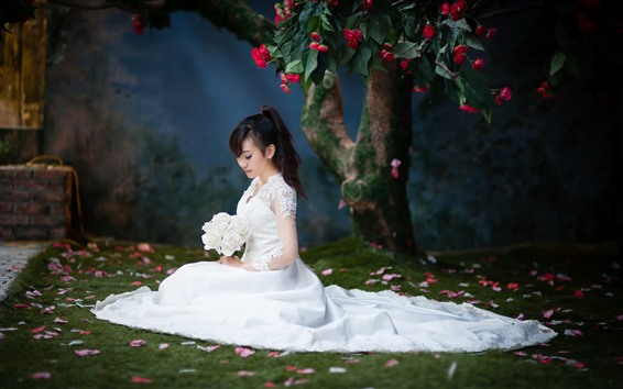 Wallpaper Bride, white skirt, Asian girl, flowers