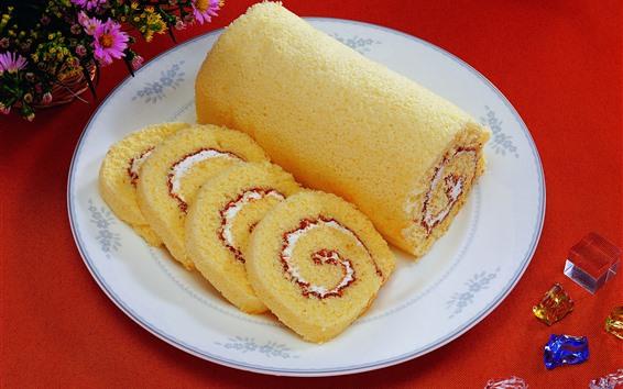 Fond d'écran Petits pains, dessert, fleurs
