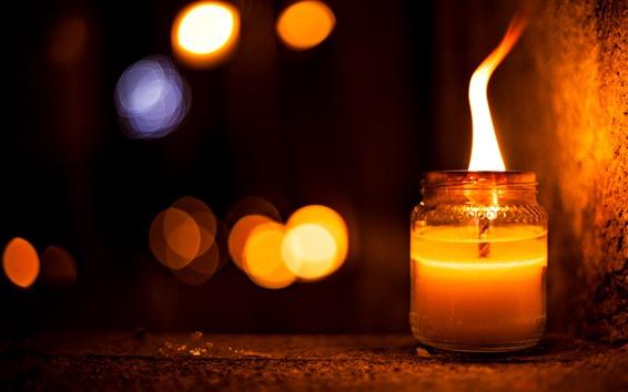 Обои Свеча, огонь, пламя, ночь