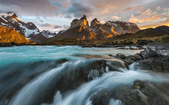 Fond d'écran Chili, Patagonie, Cordillère des Andes, rivière, nuages