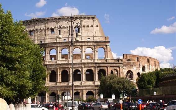 Wallpaper Colosseum, Rome, Italy, city, street