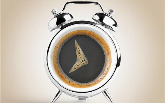 Papéis de Parede Imagem criativa, café, relógio