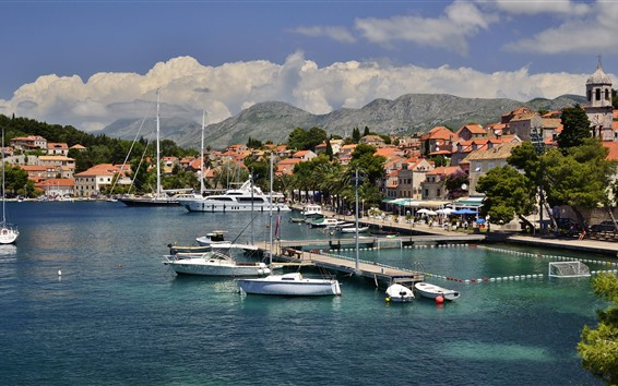 Wallpaper Croatia, pier, yacht, trees