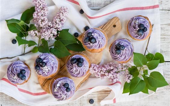 Wallpaper Cupcakes, purple cream, flowers, blueberries