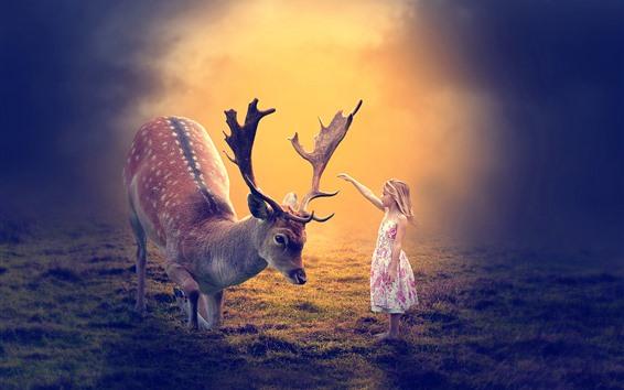 Wallpaper Cute little girl and deer, friends, hornes