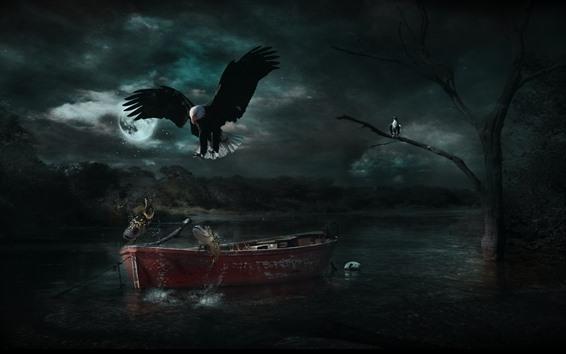 Wallpaper Eagle, fish, boat, moon, river, night, creative design