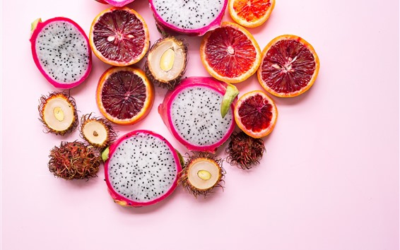 Wallpaper Fruit slices, pitaya, rambutan, citrus