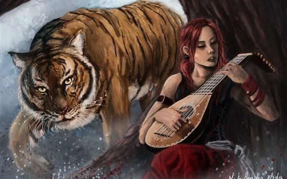 Wallpaper Girl and tiger, violin, art painting