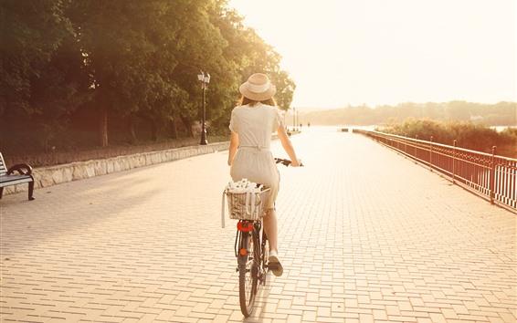 Wallpaper Girl, back view, bike, sunshine