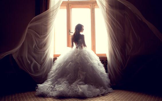 Papéis de Parede Menina, noiva, vista traseira, janela