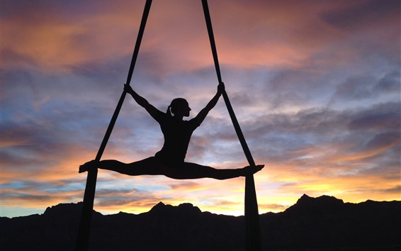 Wallpaper Girl, gymnast, silhouette, clouds, sunset