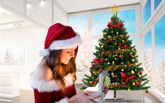 壁紙 幸せなクリスマスの女の子、ツリー、ギフト