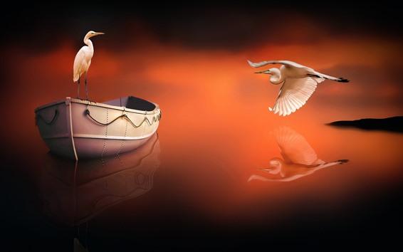 Обои Цапля, лодка, отражение воды, креативная картинка