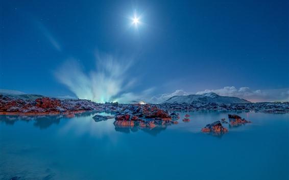 Обои Исландия, Гриндавик, озеро, голубое небо, солнечные лучи
