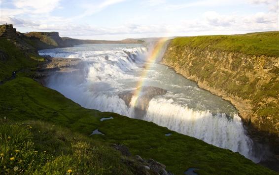 Wallpaper Iceland, rainbow, Seljalandsfoss, waterfall, river, nature landscape