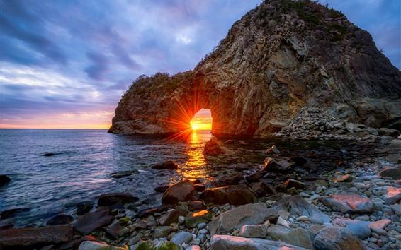 Wallpaper Japan, arch, rocks, sea, sun rays, glare