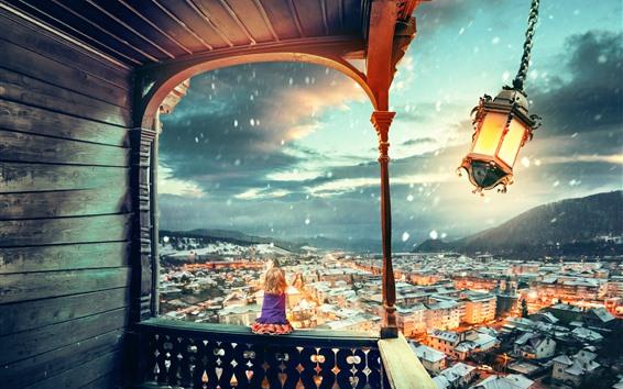 Wallpaper Lantern, wind, city, little girl, snow