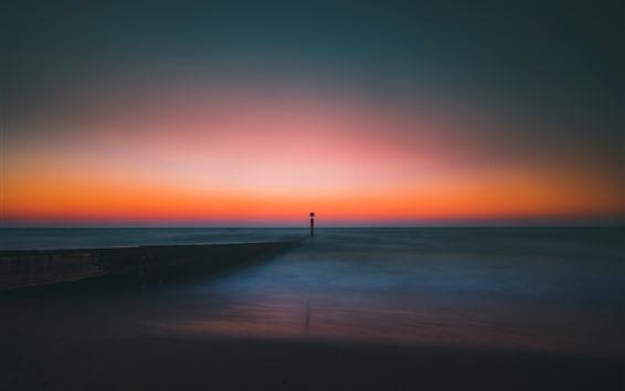 Fond d'écran Phare, horizon, mer, crépuscule