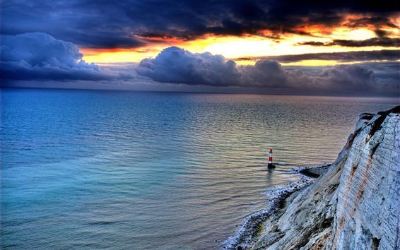 Обои Маяк, море, скалы, облака, сумерки