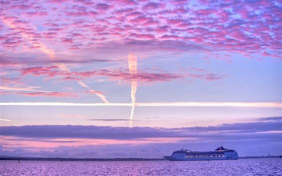 Обои Лайнер, корабль, море, облака, сумерки