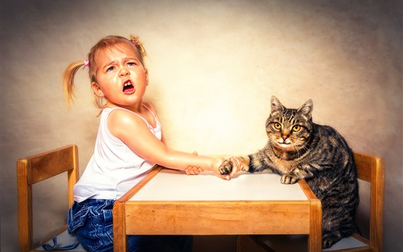 Wallpaper Little girl and cat, arm wrestling, funny picture