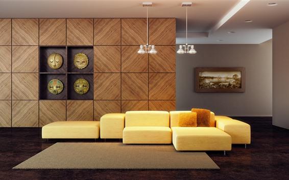 Обои Гостиная, диван, простой стиль