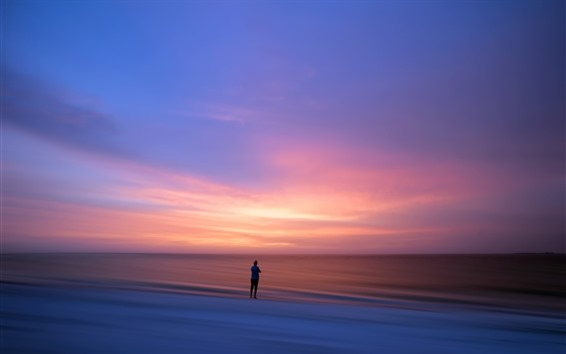 Wallpaper Lonely person, sunset, sea