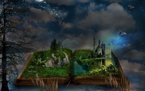 Papéis de Parede Livro mágico, grama, castelo, lua, árvores, pássaros, noite, imagem criativa