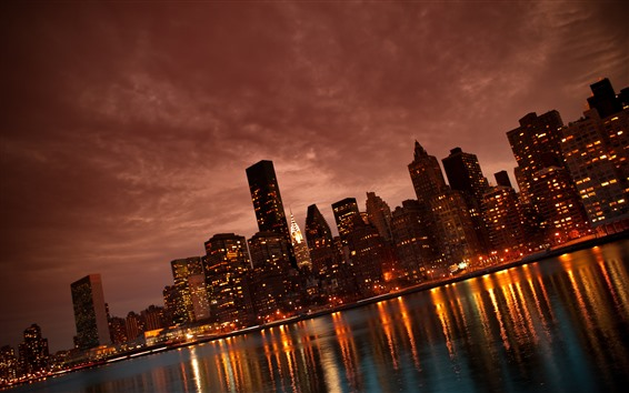 Wallpaper Manhattan, city at night, skyscrapers, lights, river, USA