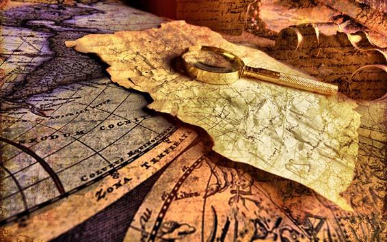 Обои Карта, лупа