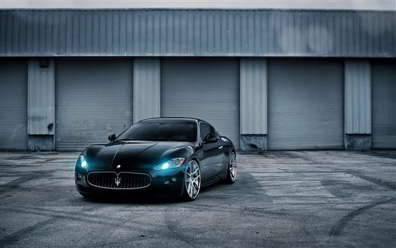 Wallpaper Maserati GT blue sports car, headlight