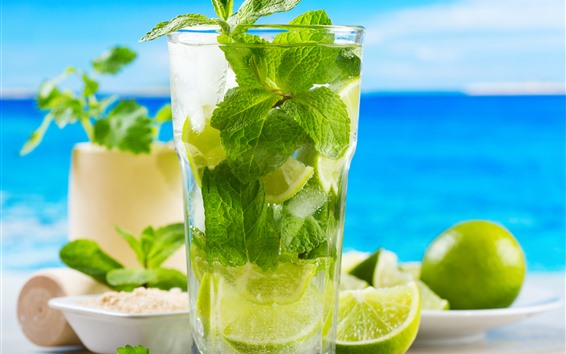 Wallpaper Mojito, cocktail, lime, ice, sea