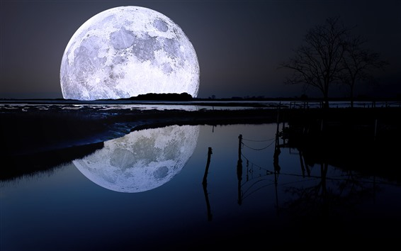 Wallpaper Moon, night, river, water reflection
