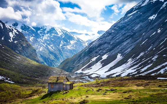 Wallpaper Norway, mountain, hut, white clouds, sunshine
